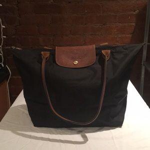 Large Black Le Pliage Longchamp Tote Bag